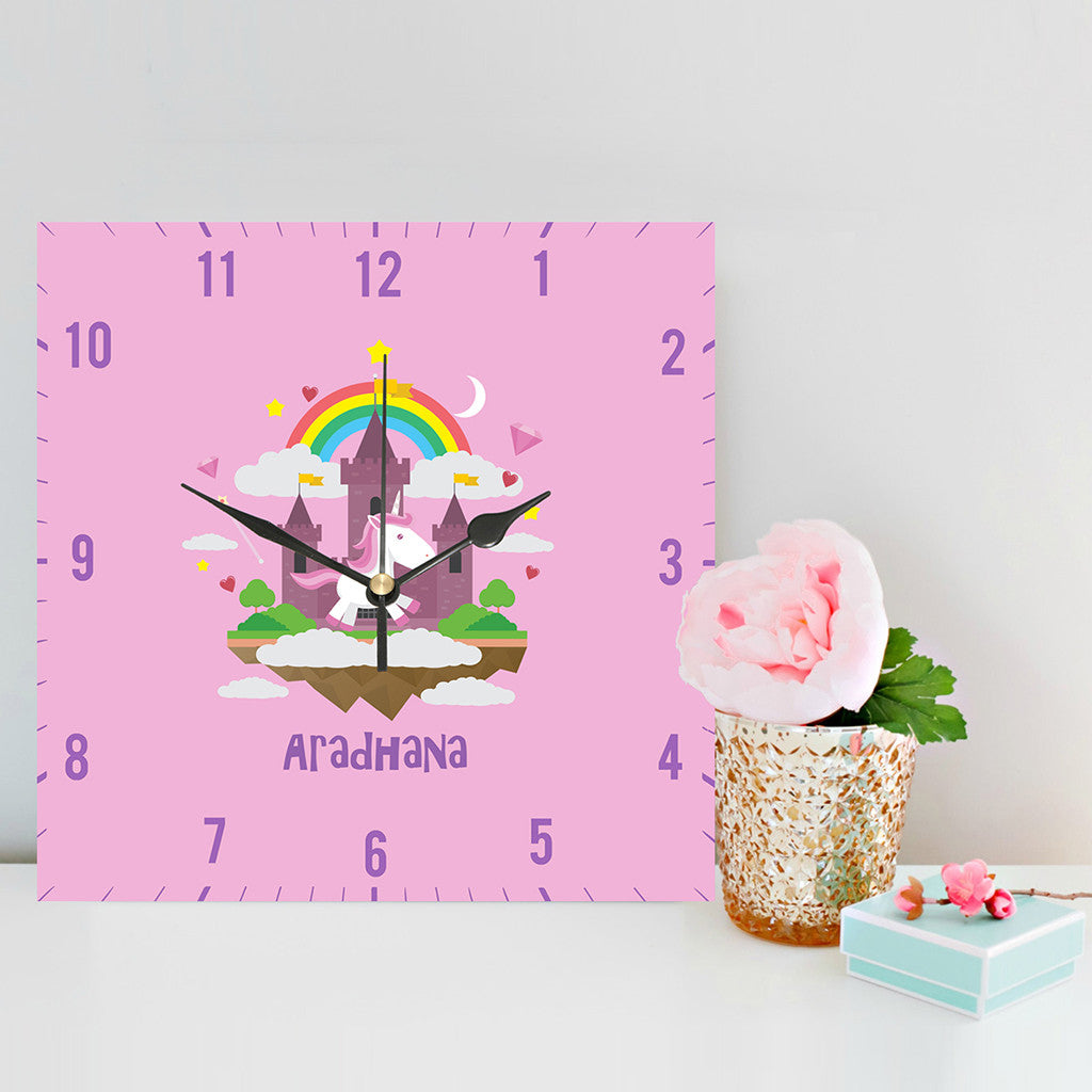 Personalised Clock, Pink