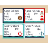 Personalised School Book Labels - Nautical, Pack of 36