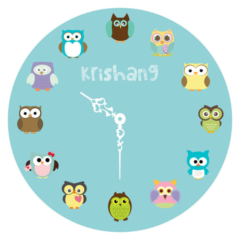 Personalised Clock - Owl, Blue