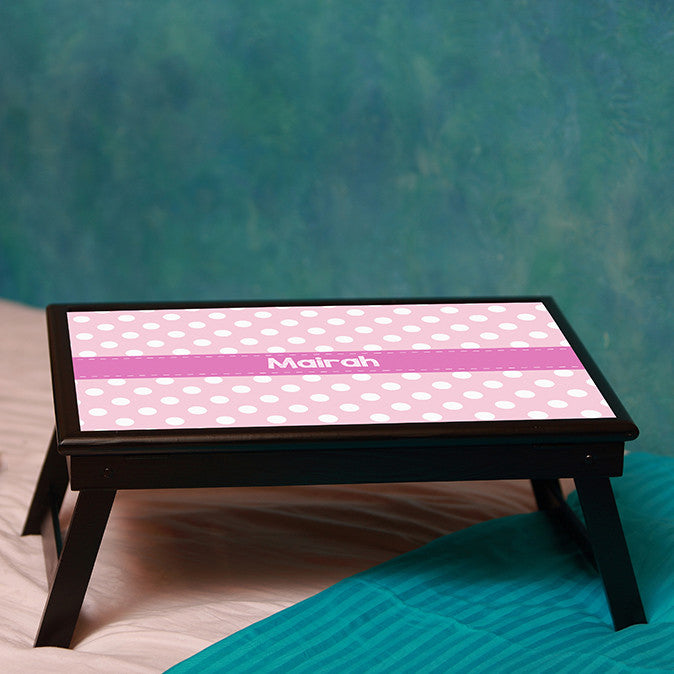 Personalised Bed table - Pink Polka Dots