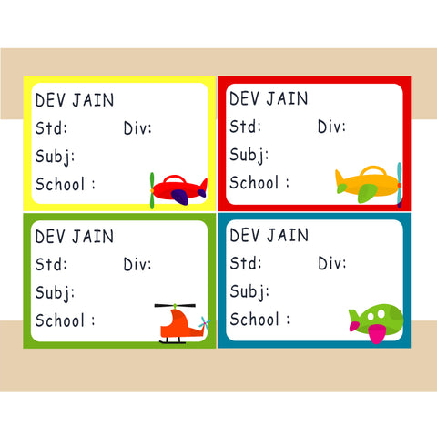 Personalised School Book Labels - Planes, Pack of 36