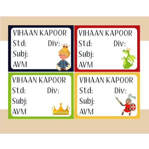 Personalised School Book Labels - Prince, Pack of 36
