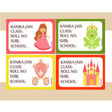 Personalised School Book Labels - Princess, Pack of 36