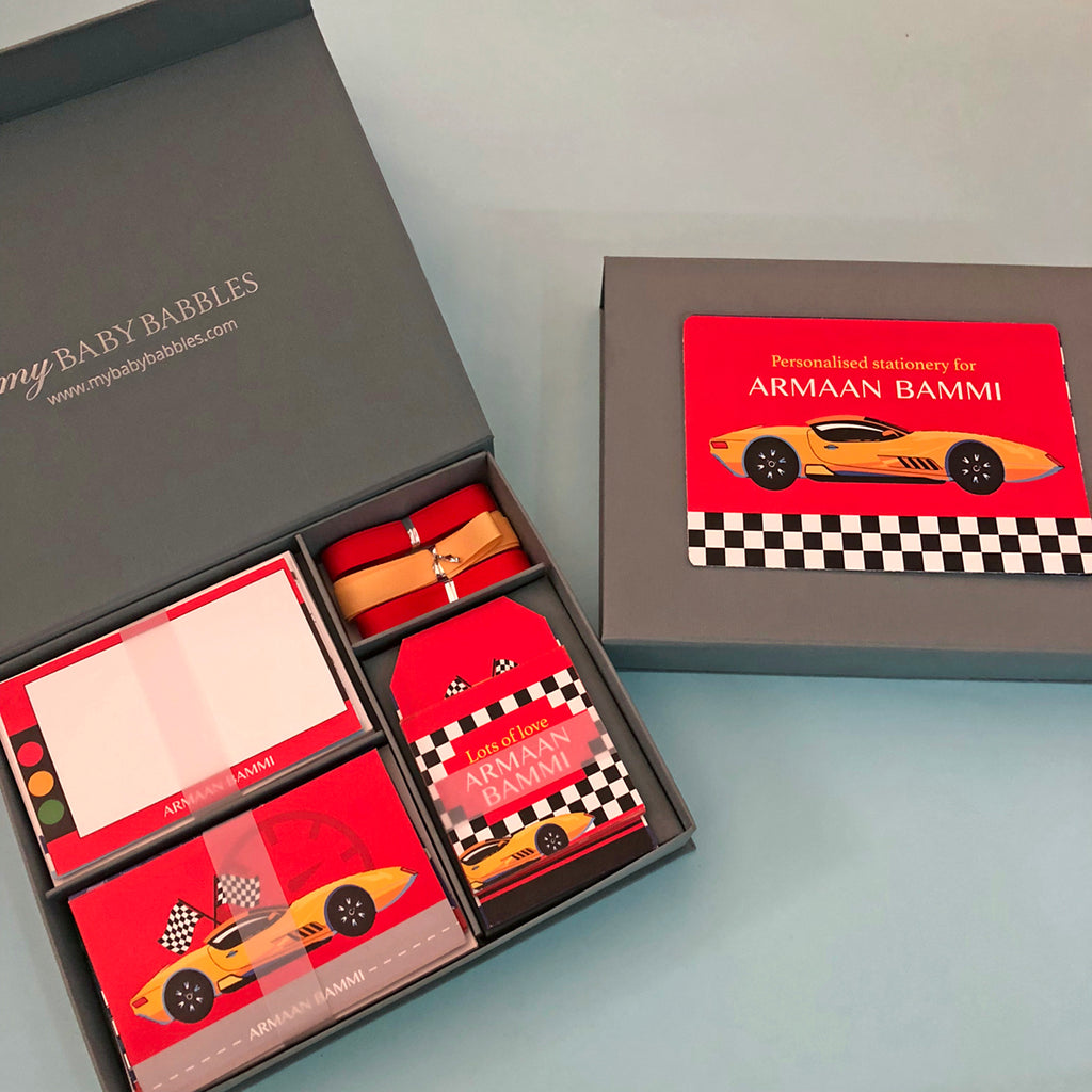 Personalized Stationery Gift Set - Race Car, Set of 24 or 48