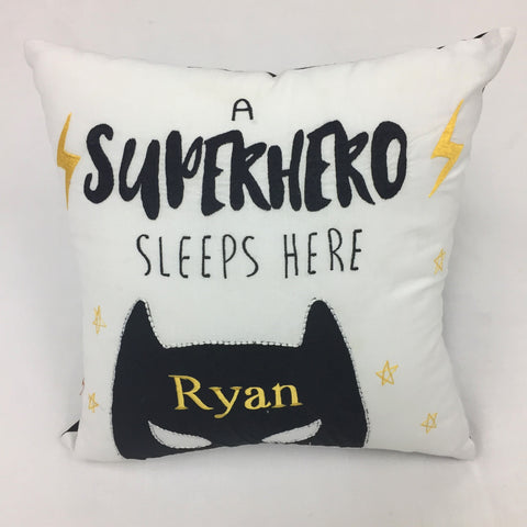Personalised 'Superhero Sleeps Here' Pillow