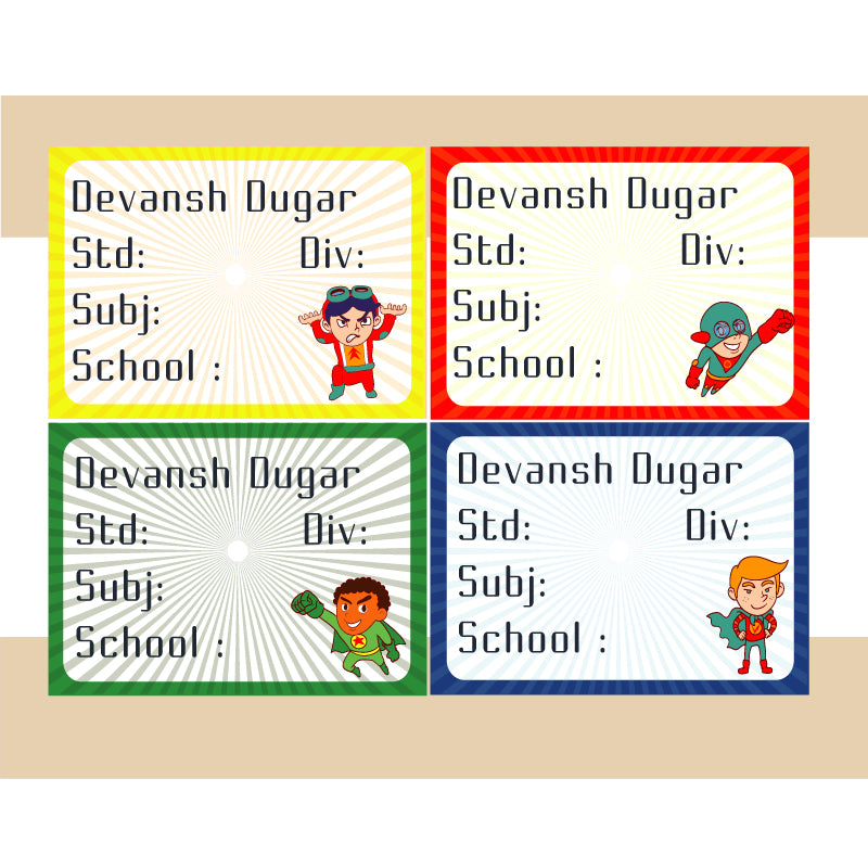 Personalised School Book Labels - Superhero, Pack of 36