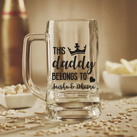 Personalised Beer Mug - This Daddy Belongs To