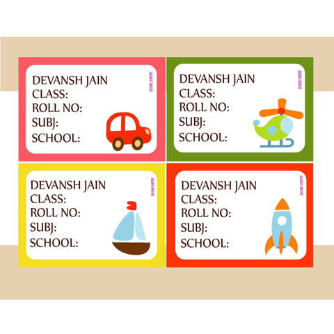 Personalised School Book Labels - Toy, Pack of 36