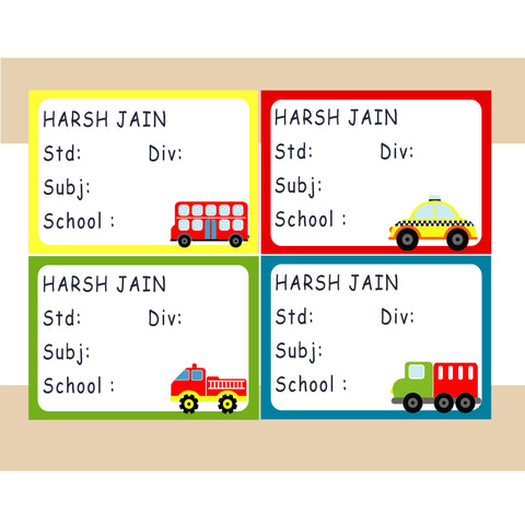 Personalised School Book Labels - Transport, Pack of 36