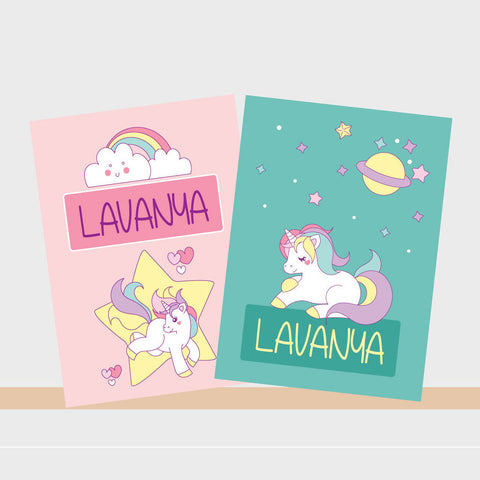 Personalised Notebooks - Unicorn, Set of 2
