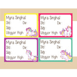 Personalised School Book Labels - Unicorn, Pack of 36