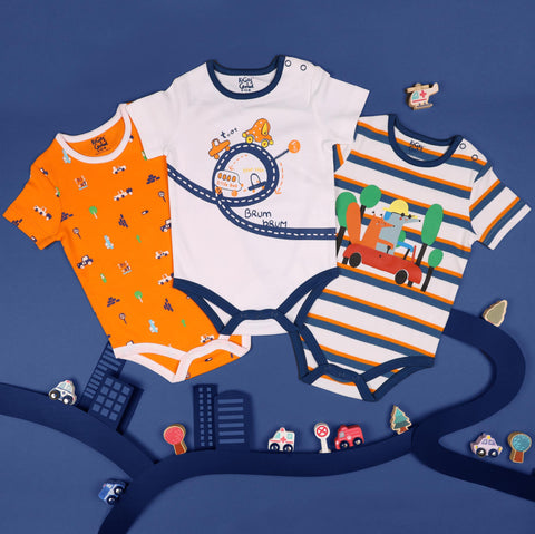 Kicks & Crawl- Vroom Vroom Onesies (NB, 0-24M)