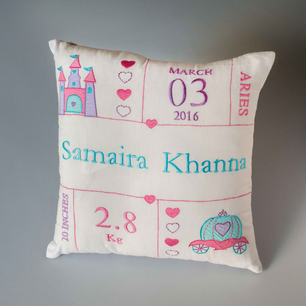 'Welcome Baby' Personalised Pillow - Girl