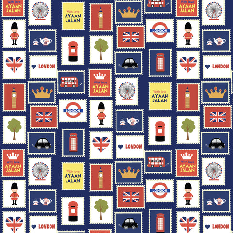 "Personalised Wrapping Paper 19 x 26.5"" - London, Set of 10"