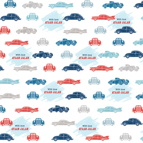 "Personalised Wrapping Paper 19 x 26.5"" - Cars, Set of 10"