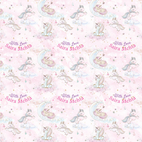 "Personalised Wrapping Paper 19 x 26.5"" - Unicorn, Set of 10"