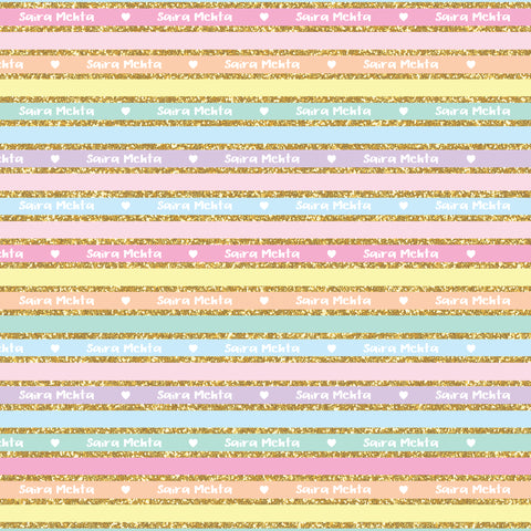 "Personalised Wrapping Paper 19 x 26.5"" - Glitter Stripes, Set of 10"