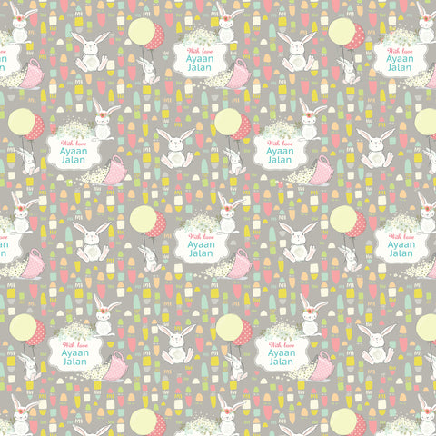 "Personalised Wrapping Paper 19 x 26.5"" - Bunny, Set of 10"