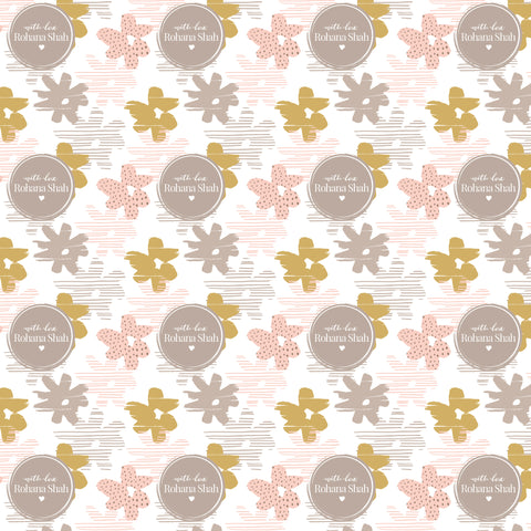 "Personalised Wrapping Paper 19 x 26.5"" - Abstract flower, Set of 10"