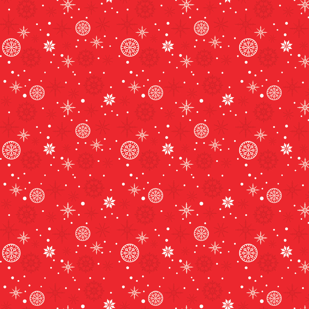 "Wrapping Paper 19 x 26.5"" - Red Snowflakes, Set of 5"