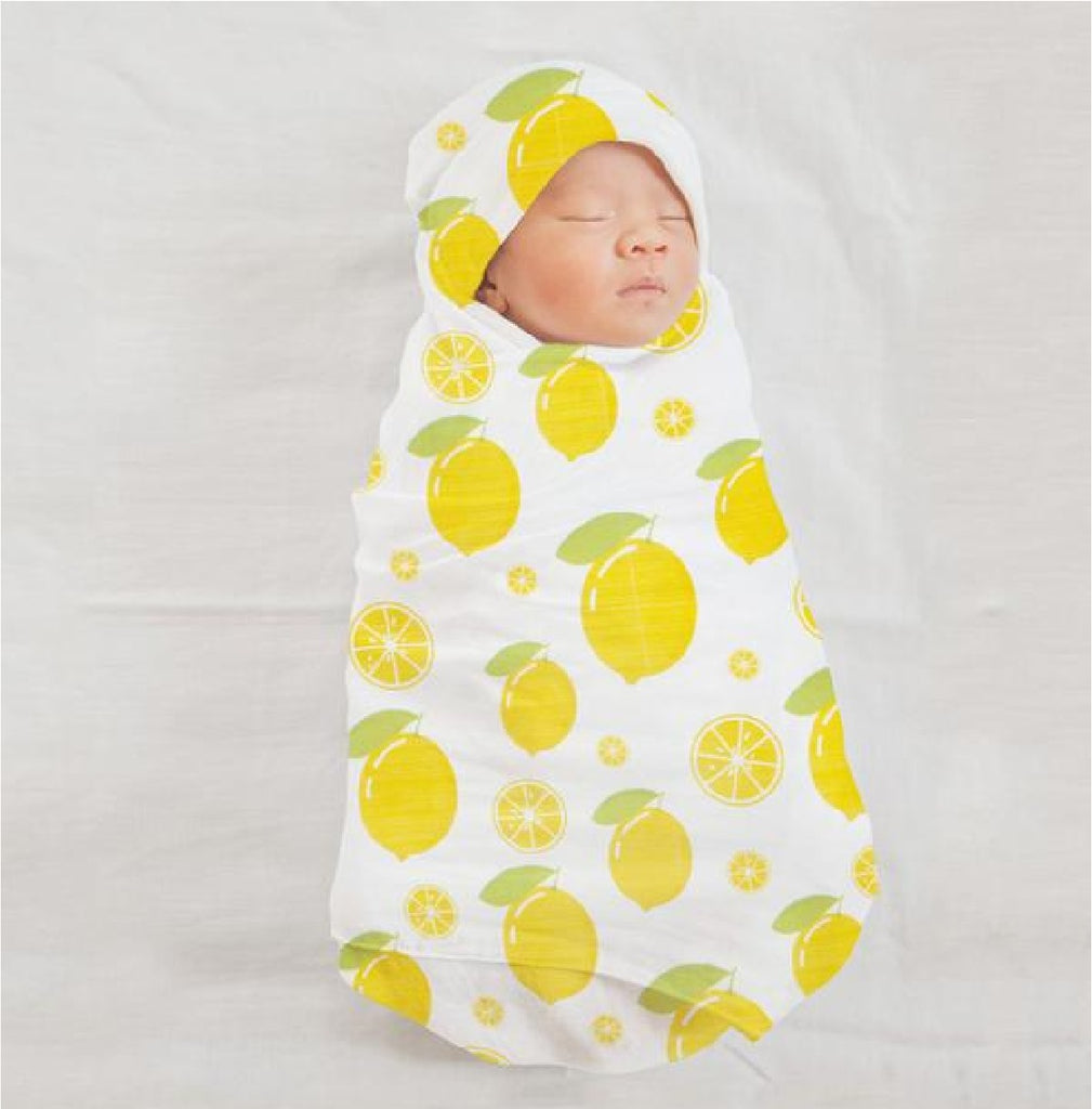 Organic Muslin 2 Piece Set with Large Swaddle and Matching Bib - Zesty Lemon