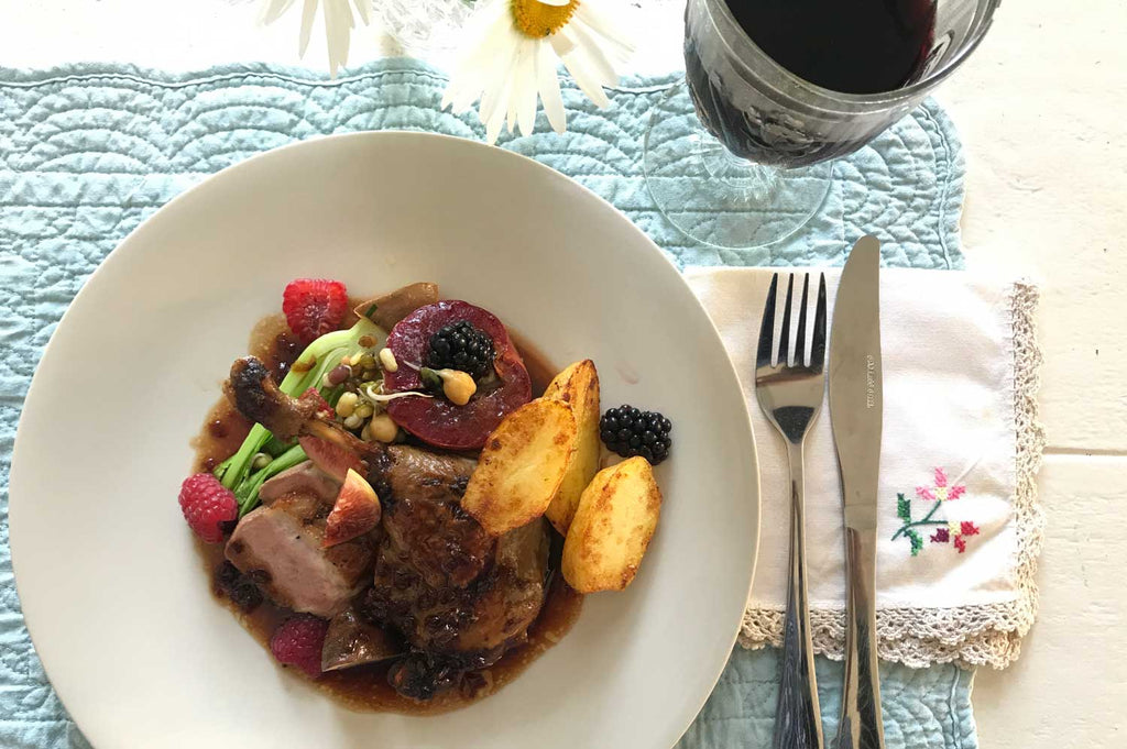 RECIPE: Chef Ian's Confit Duck with Seasonal Berries and Plums