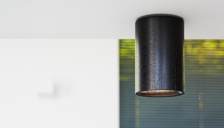 Solid - Black Stained Oak Downlight — Cylinder