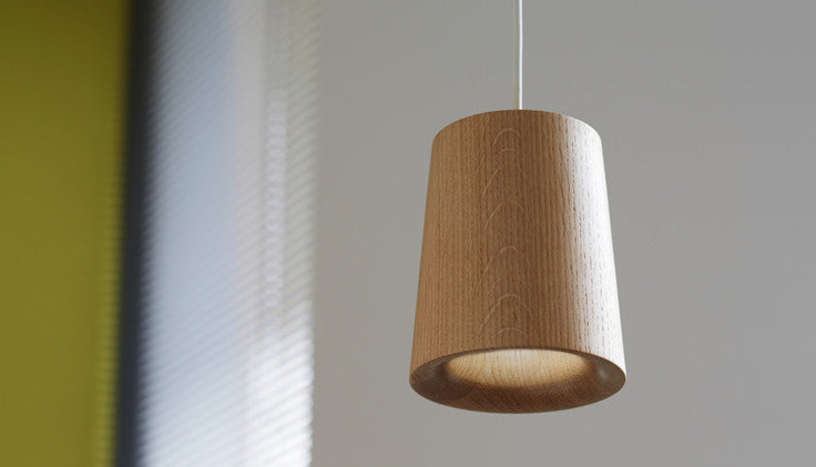Solid - Natural Oak Pendant — Cone