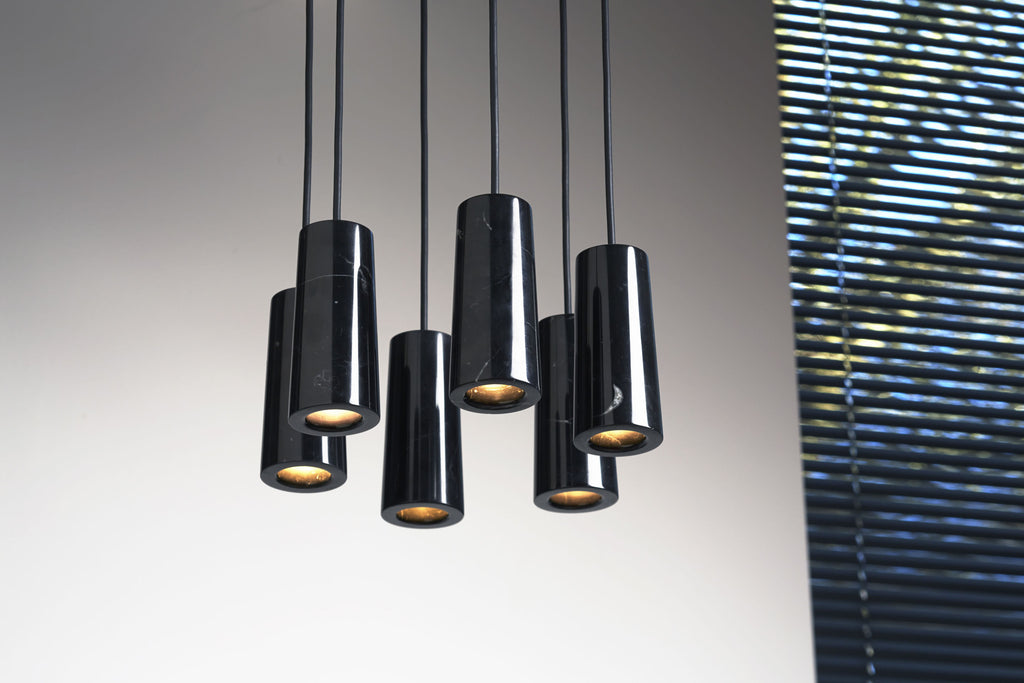 Core - Nero Marquina Marble Six Pendant Cluster