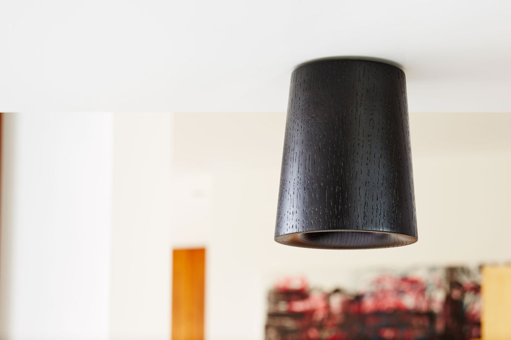 Solid - Black Stained Oak Downlight - Cone