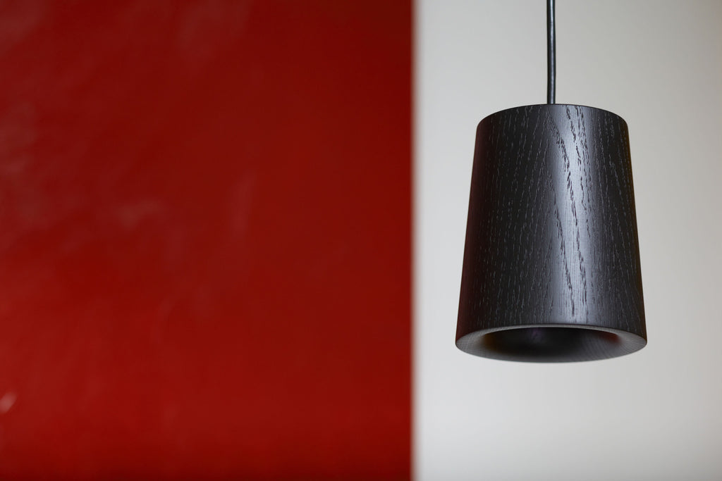 Solid - Black Stained Oak Pendant — Cone