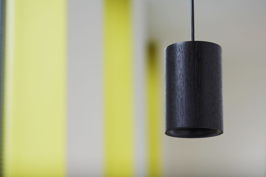 Solid - Black Stained Oak Pendant — Cylinder