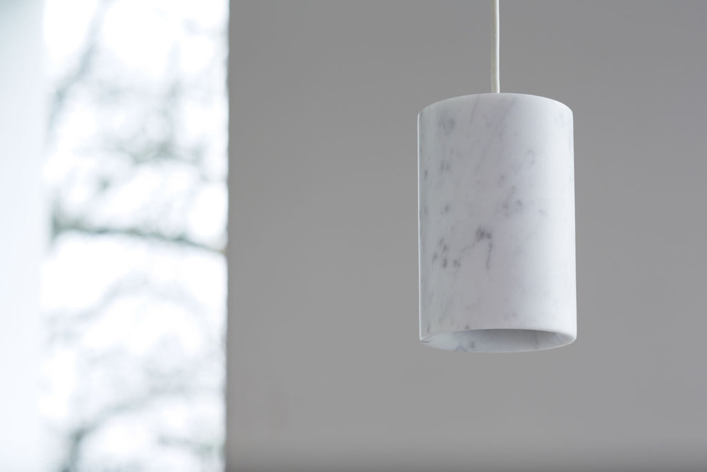 Solid - Carrara Marble Pendant — Cylinder