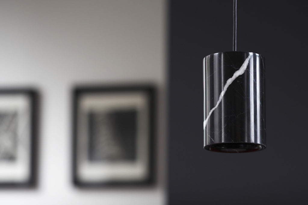 Solid - Nero Marquina Marble Pendant — Cylinder