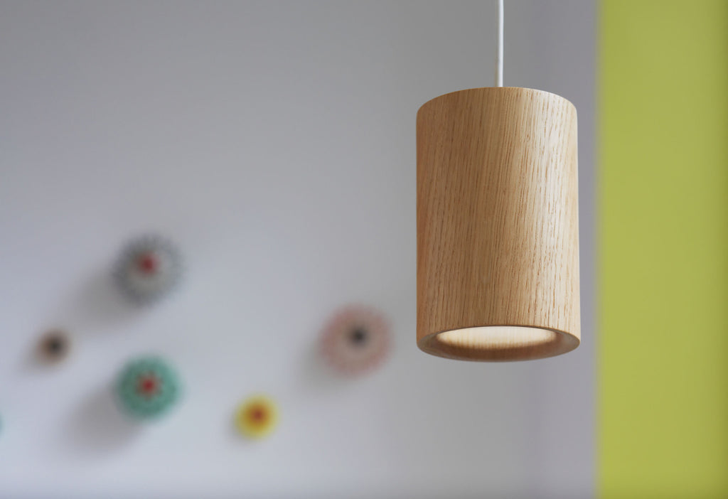 Solid - Natural Oak Pendant — Cylinder