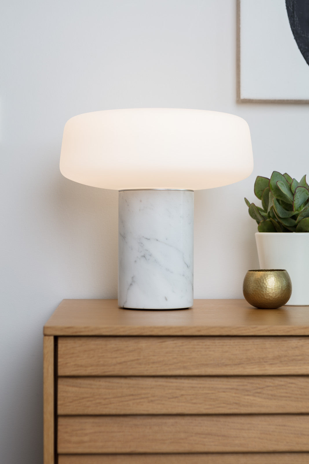 Solid Table Light - Carrara Marble – Terence Woodgate