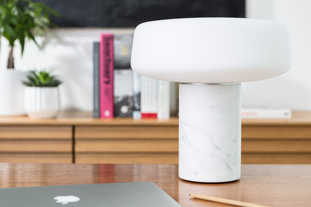 Solid Table Light - Carrara Marble