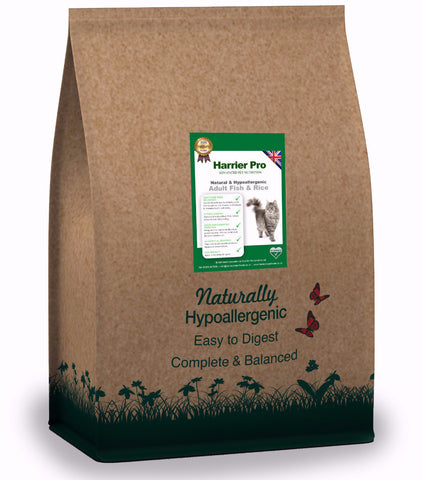 Natural Fish & Rice Adult Cat Food (Various Sizes). From only £32.99 for 4x2KG. Harrier Pro Pet Foods