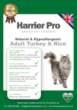 Natural and Hypoallergenic Turkey and Rice Adult Cat Food - Harrier Pro Pet Foods.co.uk