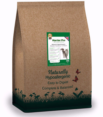 Natural Turkey & Rice Adult Cat Food (Various Sizes). From only £32.99 for 4x2KG. Harrier Pro Pet Foods