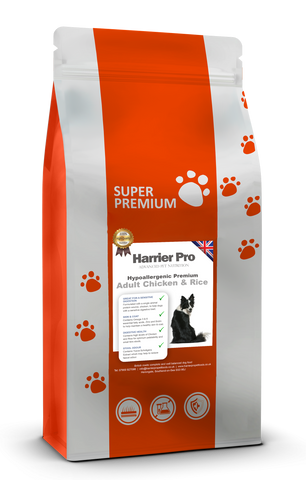 Hypoallergenic Chicken and Rice Adult Dog Food - Harrier Pro Pet Foods.co.uk