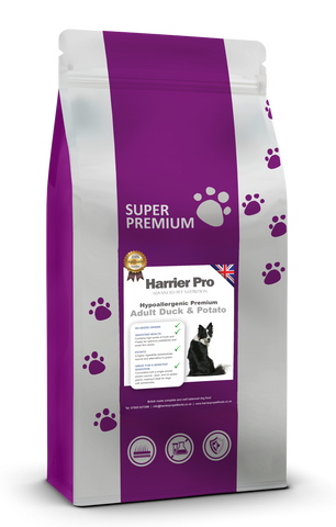 Hypoallergenic Duck and Potato Grain Free Adult Dog Food - Harrier Pro Pet Foods.co.uk