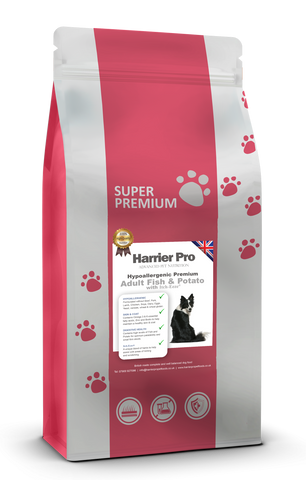 Hypoallergenic Fish and Potato Adult Dog Food with Itch-Eeze - Harrier Pro Pet Foods.co.uk