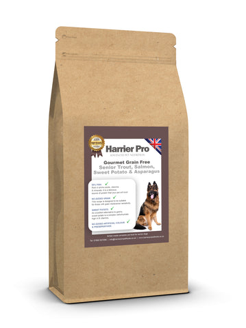Grain Free Salmon, Trout, Sweet Potato and Asparagus Senior Dog Food - HarrierProPetFoods.co.uk