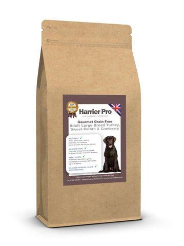 Grain Free Turkey, Sweet Potato and Cranberry Large Breed Adult Dog Food - HarrierProPetFoods.co.uk