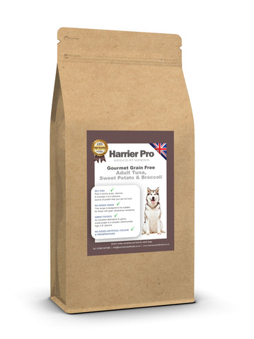 Grain Free Tuna, Salmon, Sweet Potato and Broccoli Adult Dog Food - HarrierProPetFoods.co.uk