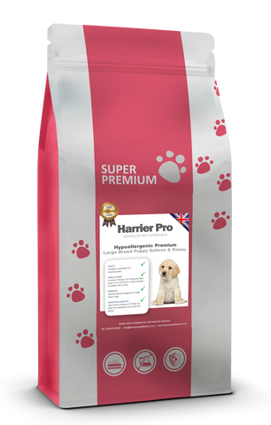 Hypoallergenic Salmon and Potato Large Breed Puppy Food - Harrier Pro Pet Foods.co.uk
