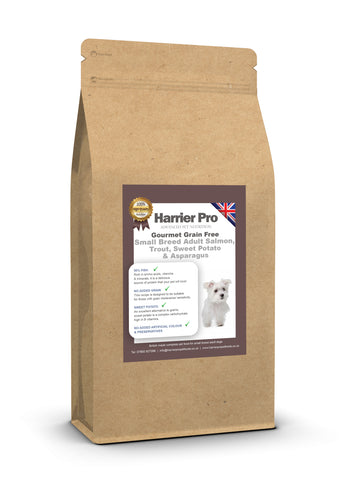 Grain Free Salmon, Trout, Sweet Potato & Asparagus Small Breed Adult Dog Food - HarrierProPetFoods.co.uk