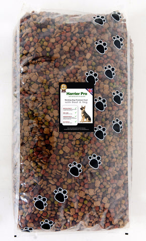 Beef & Vegetables Working Dog Food (15KG). VAT FREE. Free Delivery. Harrier Pro Pet Foods