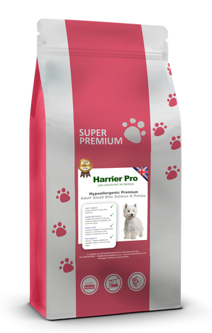 Hypoallergenic Salmon and Potato Small Breed Adult Dog Food - Harrier Pro Pet Foods.co.uk